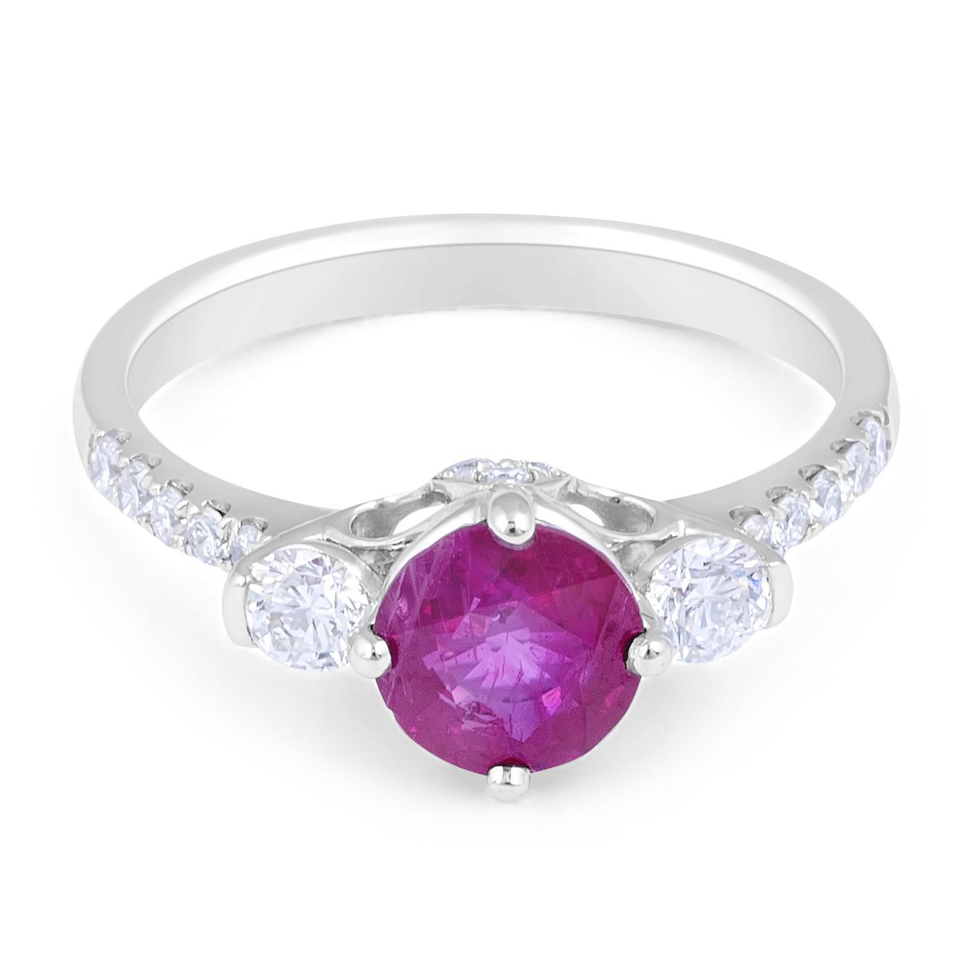 ruby diamond trilogy engagement ring in 18 karat white gold. Black Bedroom Furniture Sets. Home Design Ideas