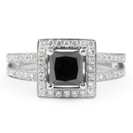 Black and White Diamond Cocktail Ring in 18 Karat White Gold
