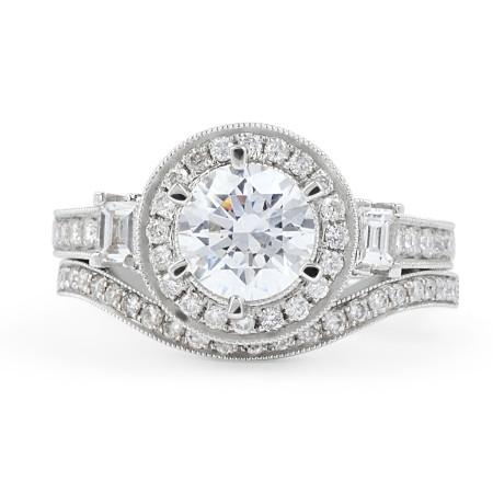Diamond Engagement Wedding set in 18 Karat White gold