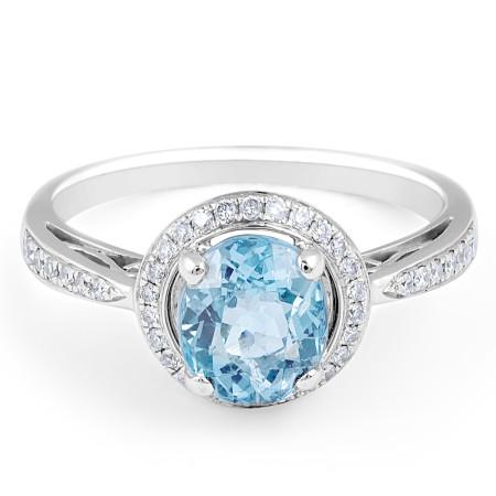 AQUAMARINE DIAMOND HALO Wedding rings melbourne