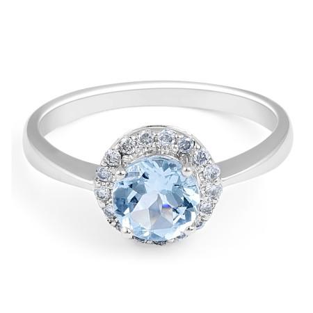AQUAMARINE DIAMOND HALO ENGAGEMENT RING IN 18 KARAT WHITE GOLD  - Wedding Rings
