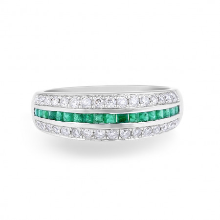 Emerald Diamond Wedding Band in 18 Karat White Gold - womens wedding band