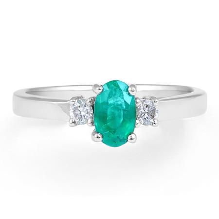 Emerald Diamond Engagement Ring in 18 Karat White Gold -Gemstone rings