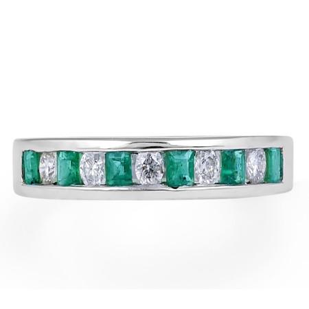 Emerald Diamond Band in 18 Karat White Gold