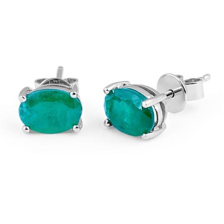 Emerald Stud Earring in 18 Karat White Gold