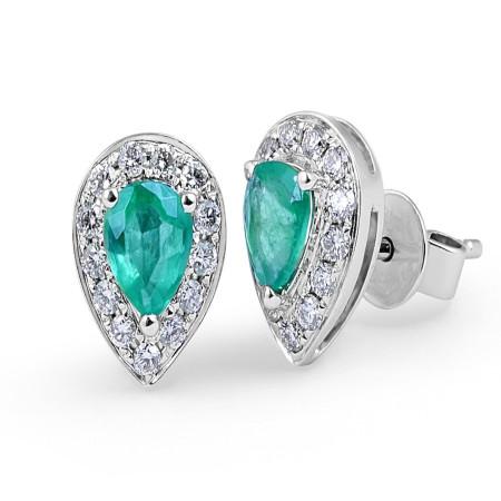 Emerald Diamond Halo Stud Earrings in 18 Karat White Gold