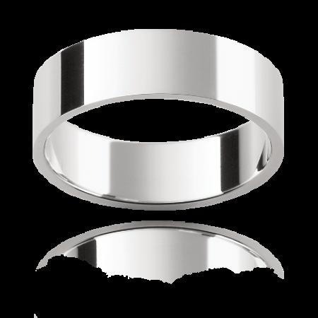 Gents Wedding Band with flat profile end slightly beveled edges.