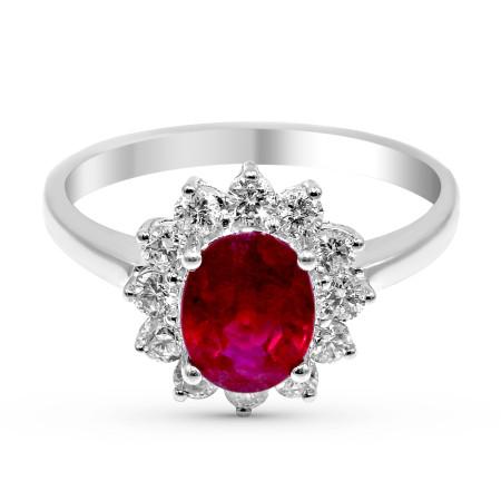 Ruby Diamond Halo Engagement Ring in 18 Karat White Gold