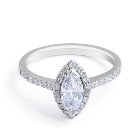 Halo Diamond Engagement Ring in 18 Karat White Gold