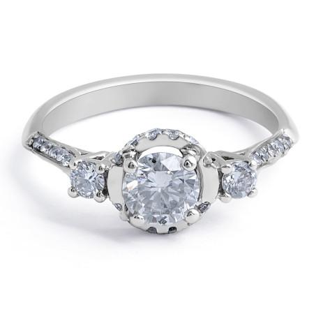Halo Diamond Engagement Ring in 18 Karat White Gold - Diamond Engagement rings