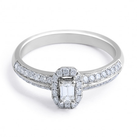 Halo Diamond Engagement Ring in 18 Karat White Gold - Custom engagement rings