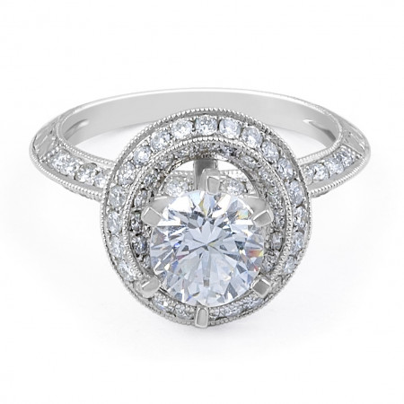 Halo Diamond Engagement Ring in 18 Karat White Gold (Engagement Rings Settings)