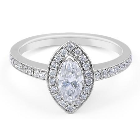 Halo Diamond Engagement ring in 18 Karat White Gold  Custom engagement rings
