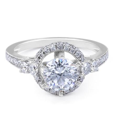 Halo Diamond Engagement Ring with Six Prongs setting - Diamond rings