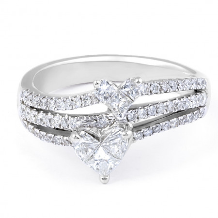 18 Karat Two Hearts Diamond Engagement Ring