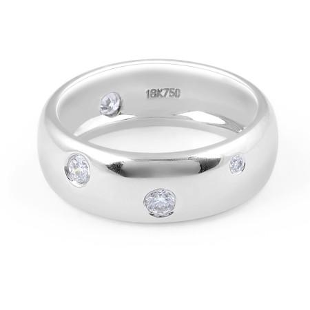 18 Karat White Gold Modern Zig Zag Setting diamond Wedding Band