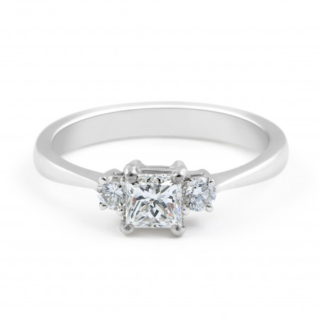 Three-Stone Diamond Engagement Ring in 18 Karat White Gold - Womens Wedding Ring