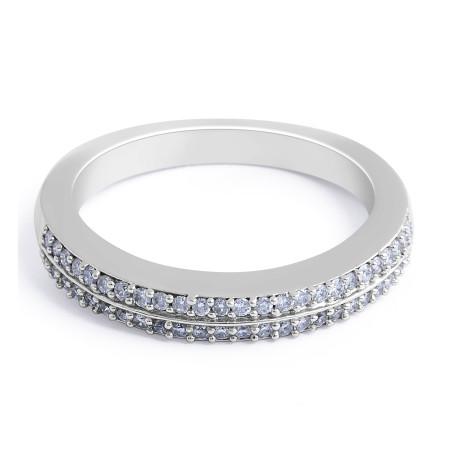 18 Karat White Gold Diamond Wedding Band in claw setting