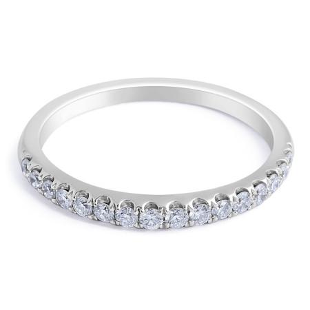 18 Karat White gold Diamond Wedding Band in Pave Setting  - womens wedding bands