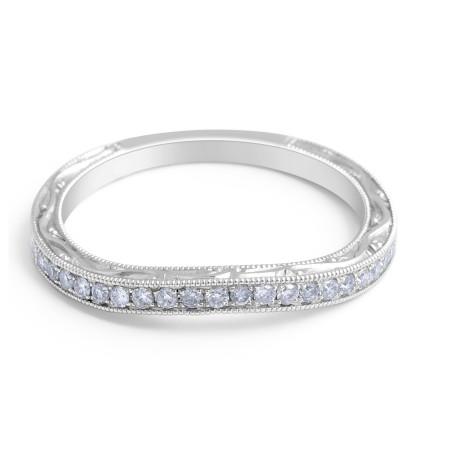 18 Karat White gold Diamond Wedding Band Vintage Style - womens wedding bands
