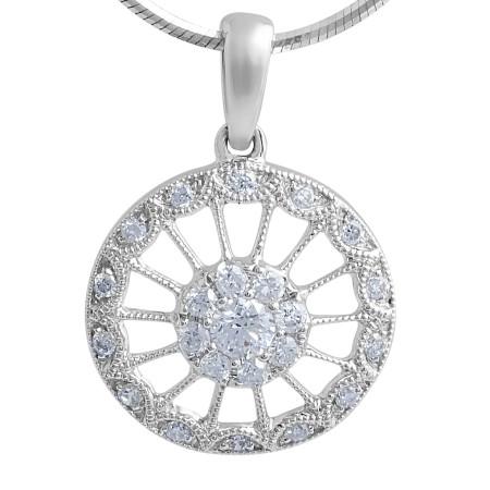 18 Karat white gold Vintage Diamond pendant