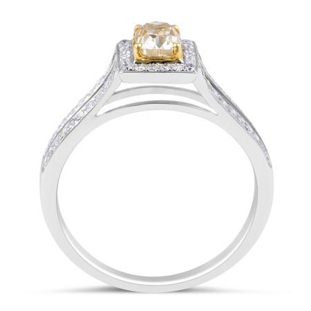 Fancy Yellow Diamond Ring in 18 Karat White Gold Diamond rings