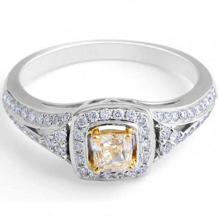Fancy Yellow Cushion Diamond Halo Ring in 18 Karat Gemstone rings