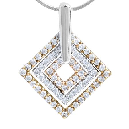 18 Karat White, Rose and Yellow gold diamond shape pendant