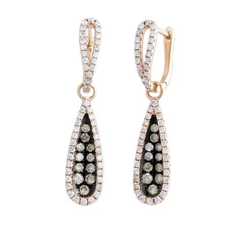 18 Karat Rose Gold Hanging Diamond Earrings