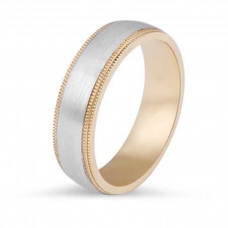 18 Karat Two-tone Gents Wedding Ring