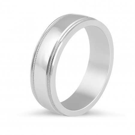 Gents Wedding Band with milgrain features along the edges.