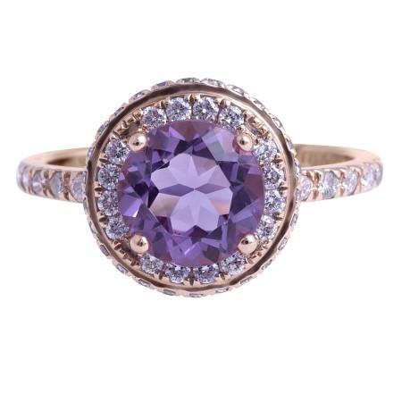 Amethyst and Diamond Ring in 18 Karat Rose Gold (