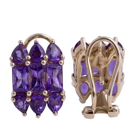 Amethyst Earrings in 14 Karat Yellow Gold