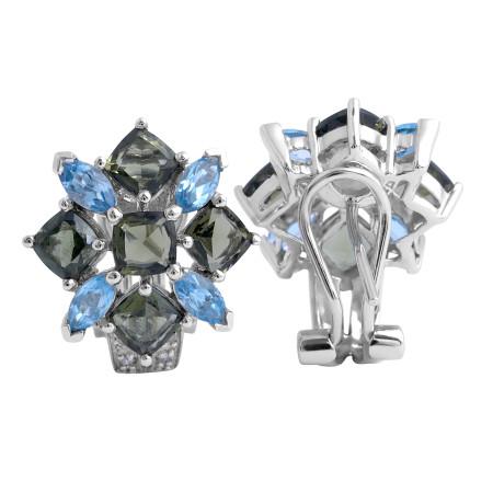 Blue Topaz/ Moldavite gemstones and Diamond Earrings in 14 Karat White Gold