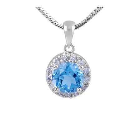 Round Swiss Blue Topaz and Diamond Halo Pendant in 18 Karat White Gold