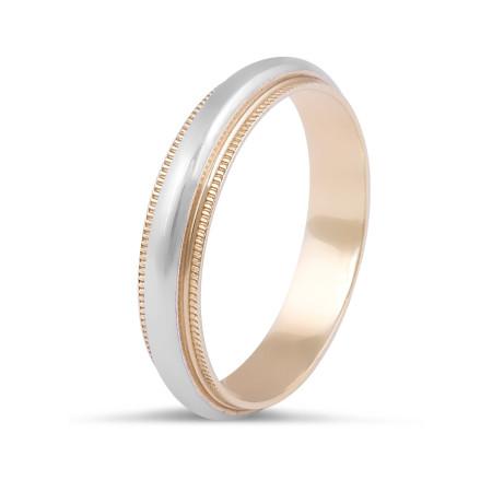 18 Karat 2-Tone Gents Wedding Ring with Milgrain Edges