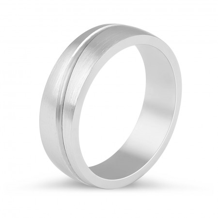Gents Wedding Band with a curved inlay detail