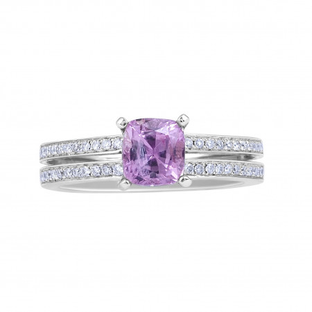 Pink Sapphire Diamond Engagement Ring Split Band in 18 Karat White Gold  Wedding rings Melbourne