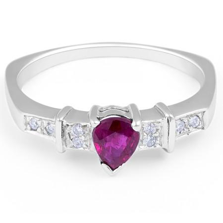 RUBY Diamond Engagement Ring in 18 Karat White Gold Grain Setting