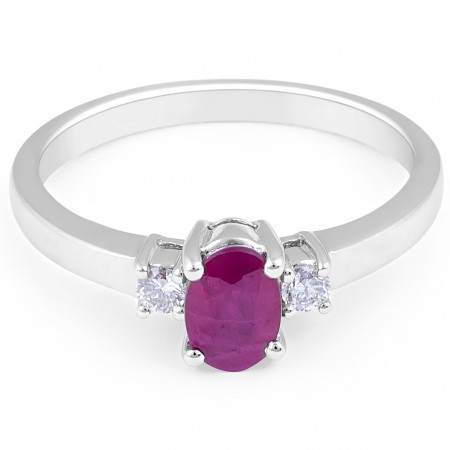 Ruby Diamond Trilogy Engagement Ring in 18 Karat White Gold Gemstone rings