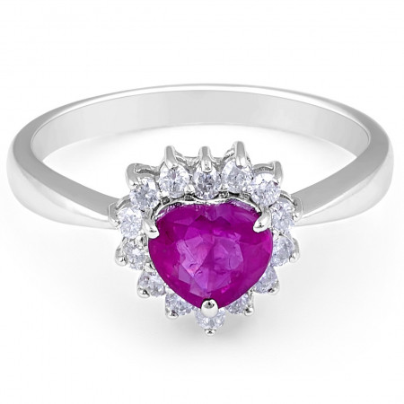 Ruby Diamond Halo Engagement Ring in 14 Karat White Gold
