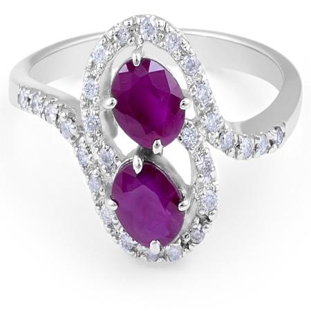 Ruby Diamond Ring in 14 Karat White Gold