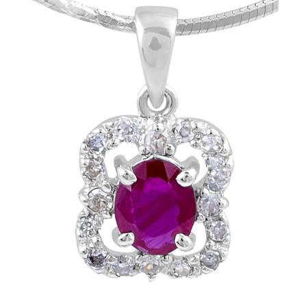 Ruby Diamond Pendant in 14 Karat White Gold Pave Setting