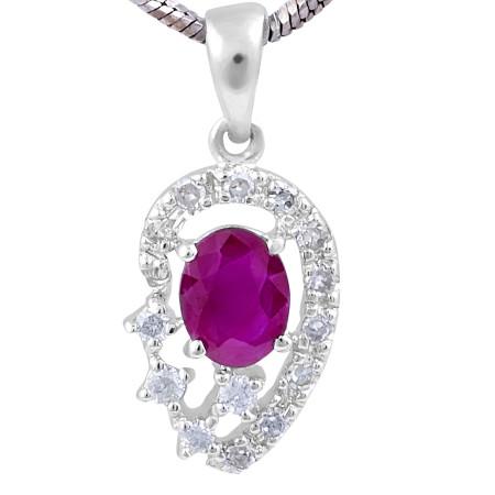 Ruby Diamond Halo Pendant in 14 Karat White Gold gemstone