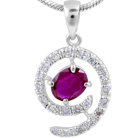 Ruby Diamond Halo Pendant in14 Karat White Gold