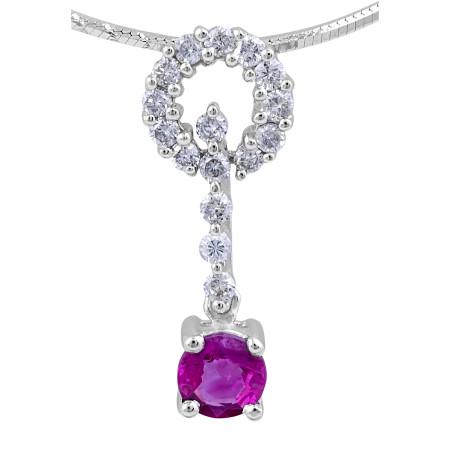 Ruby Diamond Pendant in 18 Karat White Gold  Precious Gems