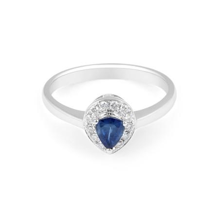 Blue Sapphire Halo Diamond Engagement Ring in 18 Karat White Gold - Precious Gems