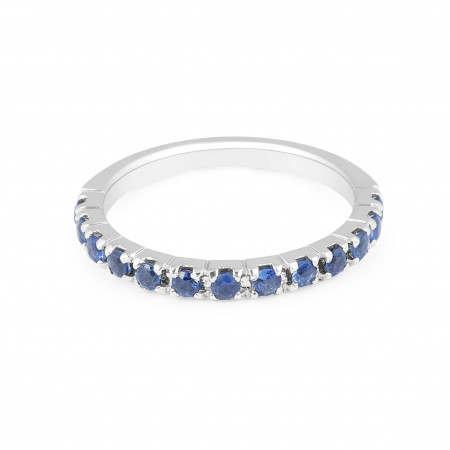 Sapphire Band in 18 Karat White Gold Pave Setting - womens wedding band