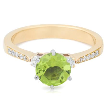 18 Karat 2 Tone Yellow and white gold Peridot Diamond Ring