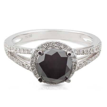 Black and White Diamond Halo Ring in 18 Karat white gold